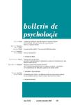 BULLETIN DE PSYCHOLOGIE, 73(570-6) - 2020